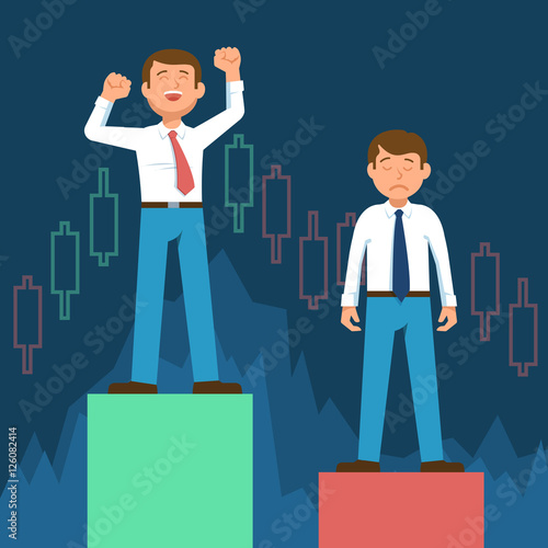 Happy stock broker trader and frustrated upset stock trader standing happy stock broker trader and frustrated upset stock trader standing on stock market graph diagram information ccuart Images