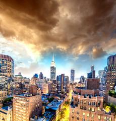 Poster de jardin Marron chocolat Sunset aerial view of Midtown Manhattan, New York CIty