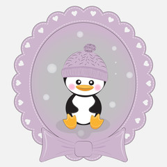 Greeting card cute cartoon penguin  on a lilac background. Beautiful frame.