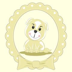 Greeting card cute cartoon dog  on a light background. Beautiful frame.