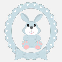 Greeting card cute cartoon hare  on a light background. Beautiful frame.