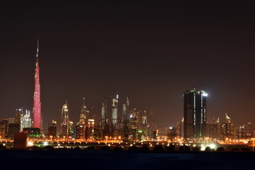 Dubai skyline at night from Meydan, United Arab Emirates