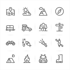 Camping icons with White Background