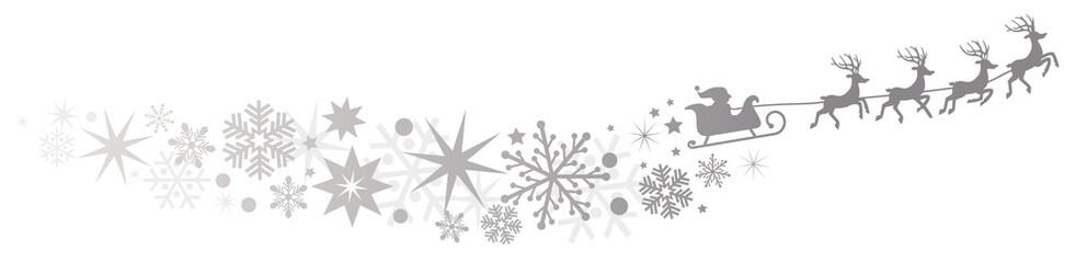 Weihnachtsmann mit Rentierschlitten und silberner Sternenschweif
