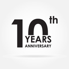 10 years anniversary sign or emblem. Template for celebration and congratulation design. 10th anniversary label. Vector illustration.