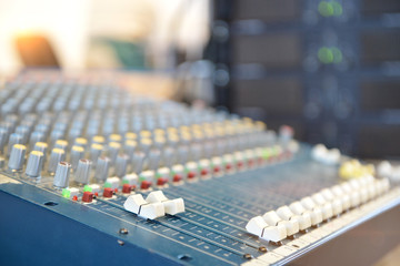 Professional studio audio mixer, close-up