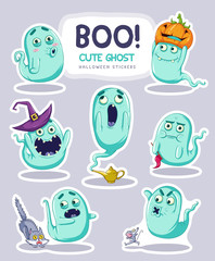 Sticker set of cute cartoon ghosts with different facial expressions