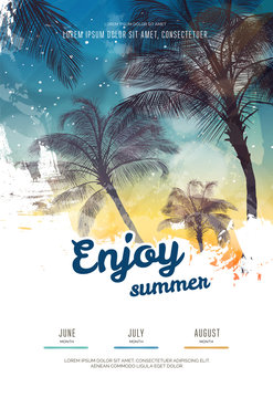Summer party poster or flyer design template with palm trees silhouettes. Modern style