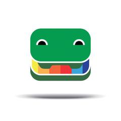 Cheerful crocodile pencil box logo. Green Crocodile icon vector.