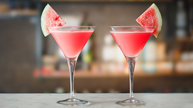 Watermelon Martini cocktails on bar counter.