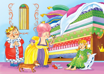 Princess and the pea. Fairy tale. The king, the queen and a young princess. Illustration for children