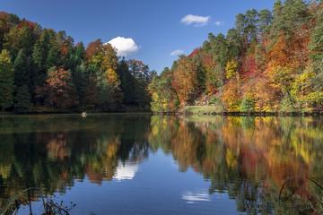 Trakoscan lake on a sunny autumn day