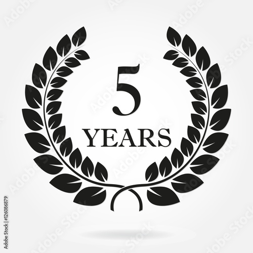 5 Years Anniversary Laurel Wreath Sign Or Emblem Template For