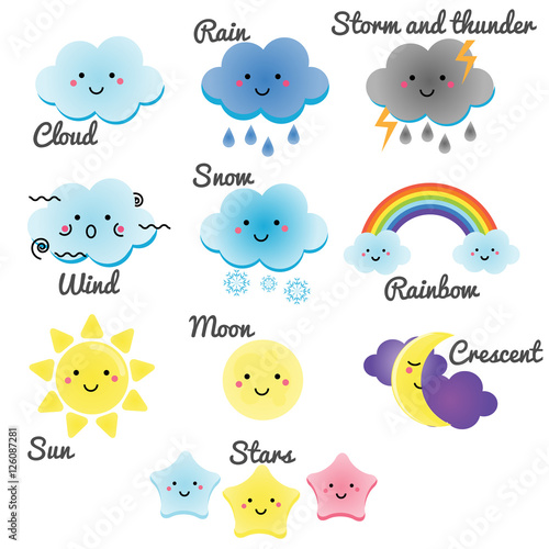 Quot Cute Weather And Sky Elements Kawaii Moon Sun Rain And