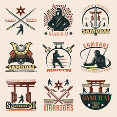 Samurai Colorful Emblems Set