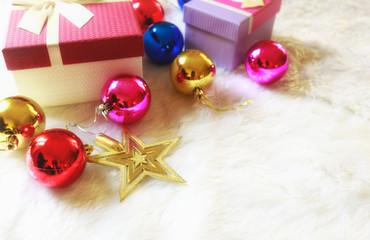 Christmas gift box with christmas balls.