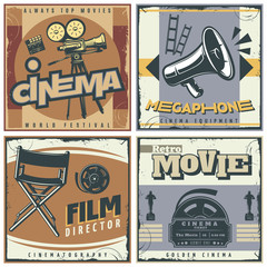 Retro Cinema Labels Set