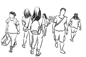people walking isolated