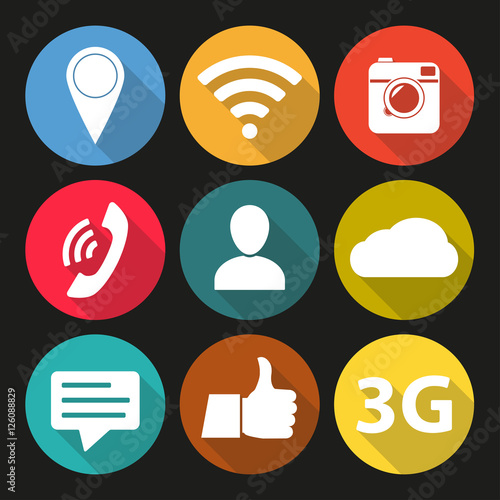Social Network Icon Set Media Network Symbols In Flat Design With