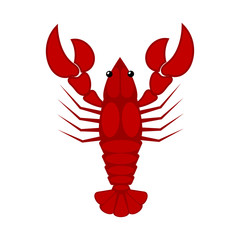 Vector illustration of a red lobster on a white background. Cart