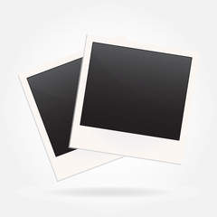 Photo frame blank in retro or old style isolated on white background. Vector illustration.
