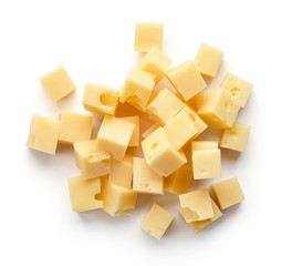 Heap of diced cheese squares from above