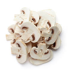 Heap of sliced fresh mushroom from above