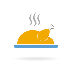 Cooked turkey icon. Roasted chicken ready for Thanksgiving. Colorful vector illustration in flat style.