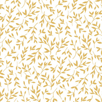 Golden leaves seamless pattern