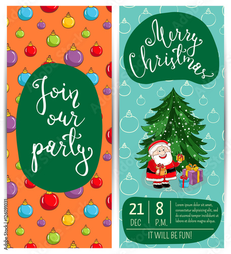 invitation on christmas party with date time slogan cute santa wrapped gifts