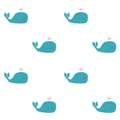 cute cartoon whale seamless vector pattern background illustration