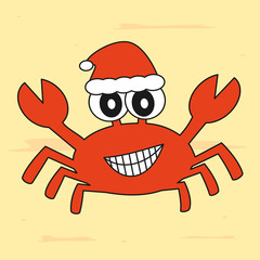 cute cartoon crab with santa hat christmas funny vector illustration