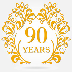 90 years anniversary icon in ornate frame with floral elements. Template for celebration and congratulation design. 90th anniversary golden label. Vector illustration.
