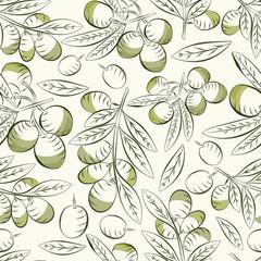 Olives background. Seamless pattern olives. Olive fruit and leaves. Good harvest.