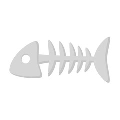 Fish bone icon in monochrome style isolated on white background. Cat symbol stock vector illustration.