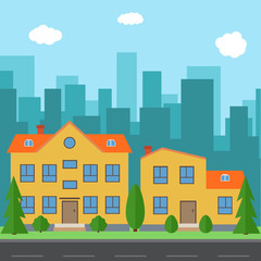 Vector city with cartoon houses and buildings. City space with road on flat style background concept. Summer urban landscape. Street view with cityscape on a background