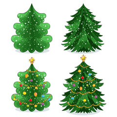 Green Christmas tree with light decoration, garland and toys vector illustration in cartoon style. Merry Christmas and Happy New Year collection isolated on white background.