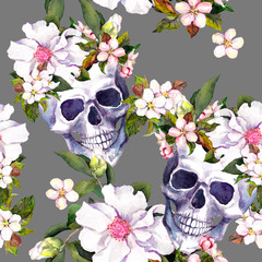 Human skulls, flowers in grunge style. Seamless pattern. Watercolor