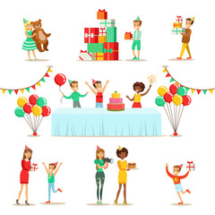 Children Birthday Party Set Of Scenes