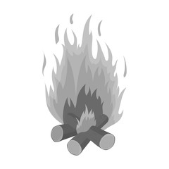 Campfire icon in monochrome style isolated on white background. Light source symbol stock vector illustration