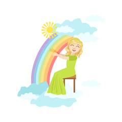 Girl Playing Harp With Rainbow And Clouds Decoration