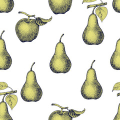 vector seamless pattern apples and pears