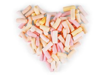 Heart shape marshmallow with onwhite background