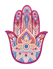 Watercolor hamsa hand with ethnic ornaments