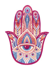 Watercolor hamsa hand with ethnic ornaments and all seeing eye