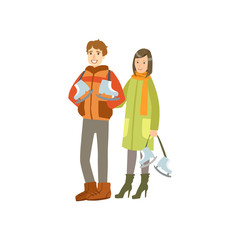 Couple Going To The Ice Ring Winter Sports Illustration