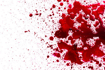 Splattered blood stain on white background