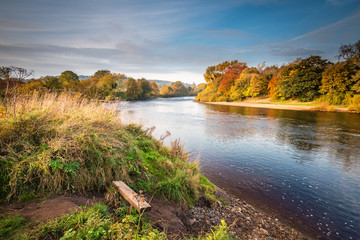 River Tyne formed from North and South Tynes, when the rivers converge near Warden in Northumberland. Also known as, The Meeting of the Waters, seen here in autumn