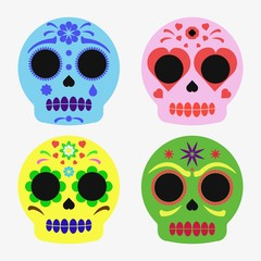 Mexican sugar skull set, day of the dead poster
