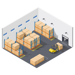 Element infographic presents work inside the warehouse, shipment of goods carried out with a forklift
